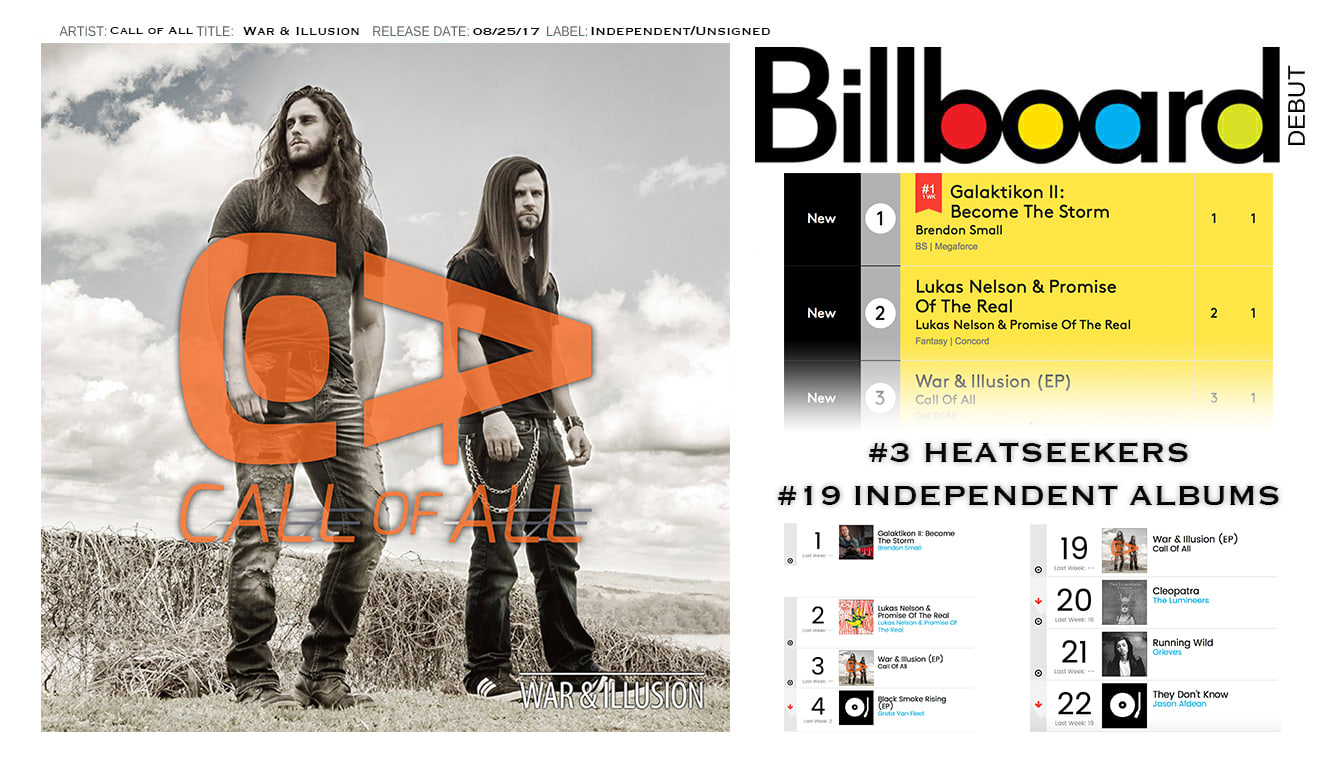 Call of All Billboard #3 Heatseekers #19 independent albums